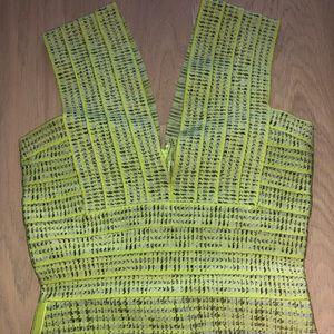 Herve Leger esque lime green bandage mini dress